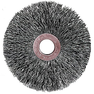 Weiler® 3 in (OD) 5/8 in (W) Face Small Diameter Crimped Wire Wheel Brush, 0.014 in Coarse, SS