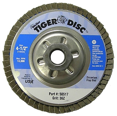 Tiger® 4 1/2 in (OD) 29 Angled Style ZrO2 Flap Disc, 36 (Medium), 5/8-11 inches Arbor