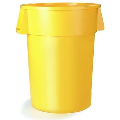 Carlisle Bronco 55 gal. Polyethylene Trash Can without Lid, Yellow