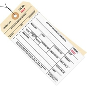 "Staples - 6 1/4"" x 3 1/8"" - (3000-3499) Inventory Tag 2 Part Carbonless Stub Style #8 - Pre-Wired, 500/Case"