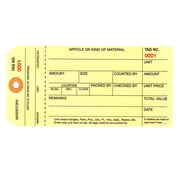 """Staples - 6 1/4"""" x 3 1/8"""" - (8000-8999) Inventory Tags 1 Part Stub Style #8 - Pre-Wired, 1000/Case"""