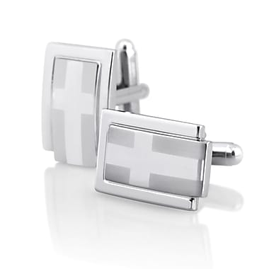 Insten® Version 2 Rectangle Cufflink, Silver (MOTHCUFLINK6)