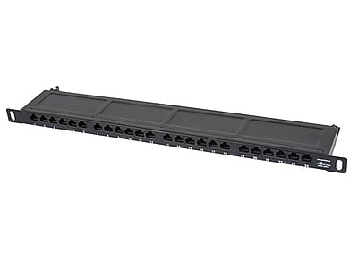 """""Monoprice SpaceSaver 24 Ports Dual IDC 19"""""""" Half-U UTP Cat6A Horizontal Patch Panel"""""" 1255929"