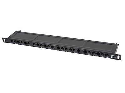 """""Monoprice SpaceSaver 24 Ports Dual IDC 19"""""""" Half-U UTP Cat6 Horizontal Patch Panel"""""" 1255930"