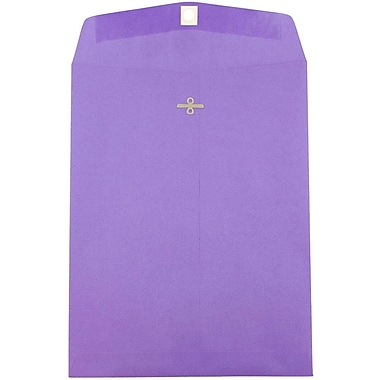 JAM Paper® 9 x 12 Open End Catalog Envelopes with Clasp Closure, Brite Hue Violet Purple Recycled, 10/pack (900906767B)
