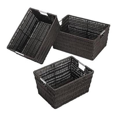 Whitmor Rattique Storage Baskets, Espresso, 3/Pack