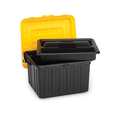 Home Homz DuraBILT Tote Locker With Tray, Black/Yellow 44668