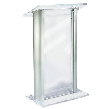 Amplivox Lectern, Aluminum Acrylic, Contemporary, Anodized Aluminum Post