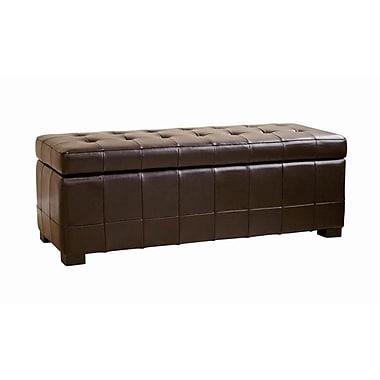 Baxton Studio Walter Leather Tufted Large Storage Bench Ottoman, Dark Brown