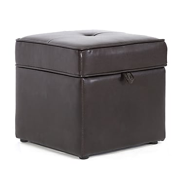 Baxton Studio Sydney Leather Storage Cube Ottoman, Dark Brown