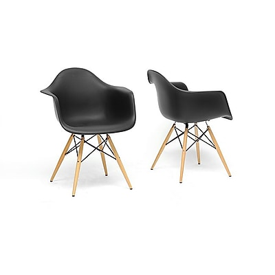 Baxton Studio Pascal Plastic Mid-Century Modern Shell Chair, Black, 2/Set