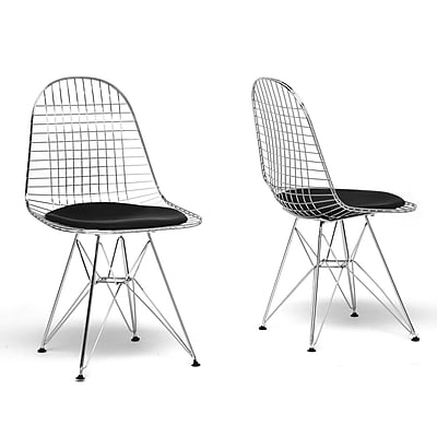 Baxton Studio Avery Mid-Century Faux Leather Modern Wire Chair, Black, 2/Set