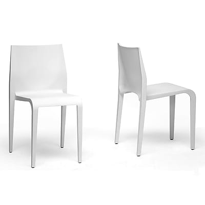 Baxton Studio Blanche Modern Molded Plastic Dining Chair, White, 2/Set