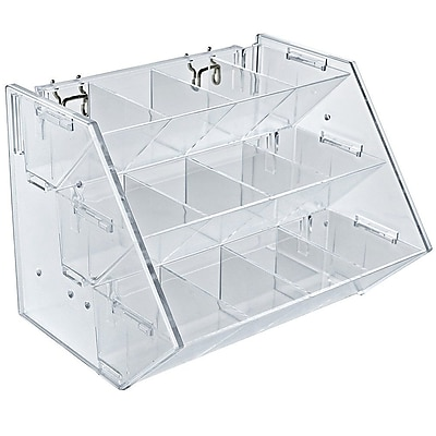 Azar Displays 12 Compartment 3 Step Counter/Pegboard/Slatwall Tray, Clear