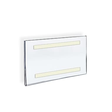 Azar Displays Acrylic Horizontal Wall Mount Sign Holder with Adhesive Tape, 7