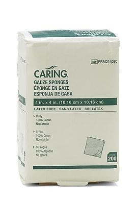 Caring® Woven Non-sterile Gauze Sponges, 4
