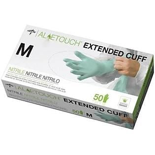 Medline Aloetouch MDS195185H Medium Extended Cuff Chemo Nitrile Exam Gloves 50/Box, Green