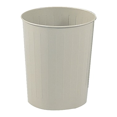 Safco 6 gal. Round Stainless Steel Trash Cans without Lid, Sand