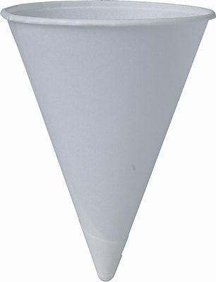 Bare Treated Paper Cone Water Cups, 6 Oz, White, 200/sleeve, 25 Sleeves/Ct 150296