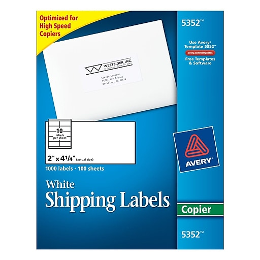 avery 5352 white copier shipping labels 2 x 4 14