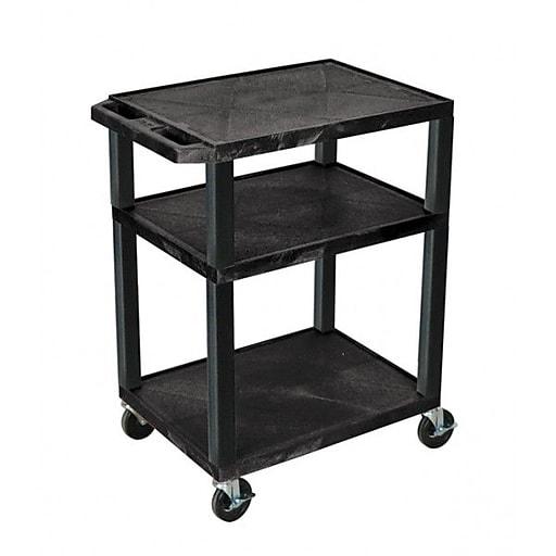 "H Wilson® 34""(H) 3 Shelves Tuffy AV Carts W/Nickel Legs & Electrical Attachment, Navy (WT34E)"