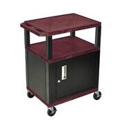 """H Wilson® 34""""(H) 3 Shelves Tuffy AV Carts W/Black Legs & Cabinet, Burgundy"""