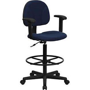 Flash Furniture Ergonomic Fabric Drafting Stool, Adjustable Arms, Navy Blue
