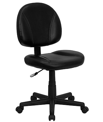 Flash Furniture LeatherSoft Leather Computer and Desk Office Chair, Armless, Black (BT688BK)