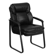 Flash Furniture LeatherSoft Leather Executive Office Chair, Fixed Arms, Black (GO1156BKLEA)