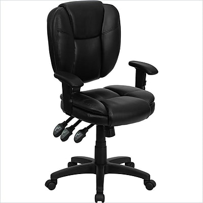 Flash Furniture LeatherSoft Leather Computer and Desk Office Chair, Adjustable Arms, Black (GO930FBKLEAA)