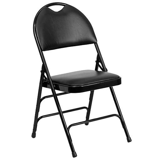 Flash Furniture HERCULES Series Extra Large Triple Braced Vinyl Metal Folding Chair with Easy-Carry Handle, Black, 12/Pack