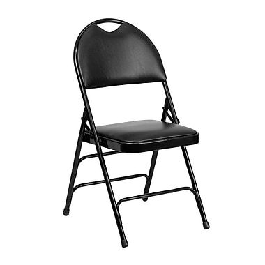 Flash Furniture HERCULES Series Extra Large Triple Braced Vinyl Metal Folding Chair with Easy-Carry Handle, Black, 52/Pack