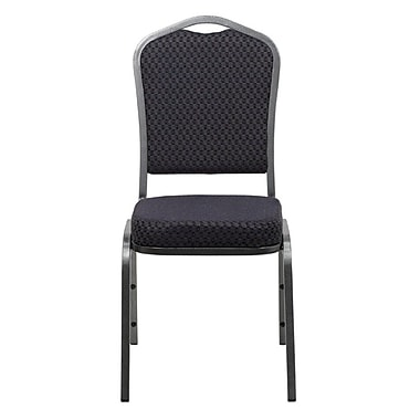 Flash Furniture HERCULES Series Crown Back Banquet Stack Chair with Black Pattern Fabric and Silver Vein Frame Finish, 4/Pack