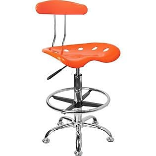 Flash Furniture Plastic Drafting Stool, Armless, Orange
