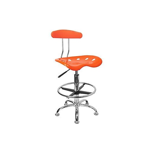 Flash Furniture Low Back Polymer Drafting Stool With Tractor Seat, Vibrant Orange