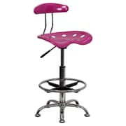 Flash Furniture Tractor Seat Polymer and Chrome Drafting Stool, Armless, Pink