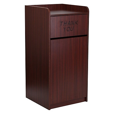 Flash Furniture 36 gal. Wood Tray Trash Can with Lid, Mahogany