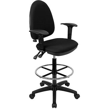 Flash Furniture Multi-Functional Fabric Drafting Stool, Adjustable Arm, Black