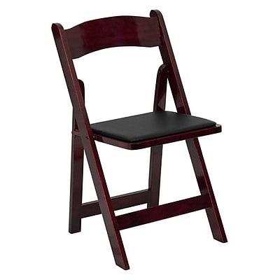 Flash Furniture HERCULES Series Wood Folding Chair - Padded Vinyl Seat, Mahogany, 4/Pack