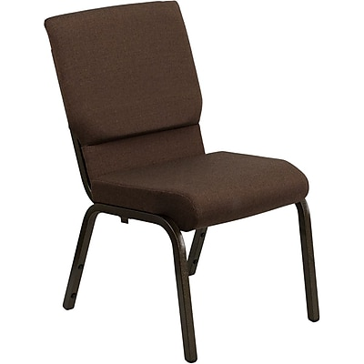Flash Furniture HERCULES Series 18.5'' Wide Stacking Church Chair with 4.25'' Thick Seat - Gold Vein Frame, Brown