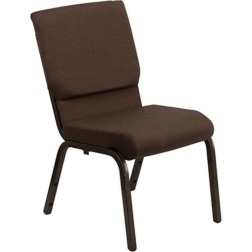 Flash Furniture HERCULES™ Fabric Stacking Church Chair, Brown, Gold Vein Frame
