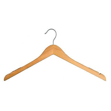 Wood Flat Top Hanger, Brushed Chrome Hook, Low Gloss Natural, 17