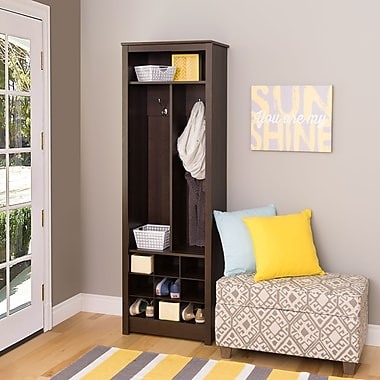 Prepac Space-Saving Entryway Organizer with Shoe Storage, Espresso