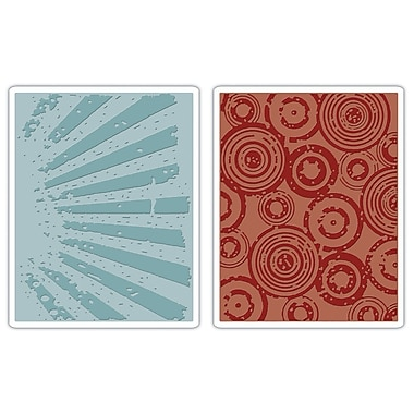 Sizzix® Texture Fades Embossing Folder, Rays and Retro Circles Set