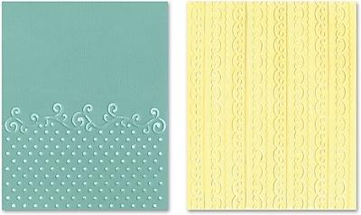 Sizzix® Textured Impressions Embossing Folder, Flourish, Dots and Ribbon Set