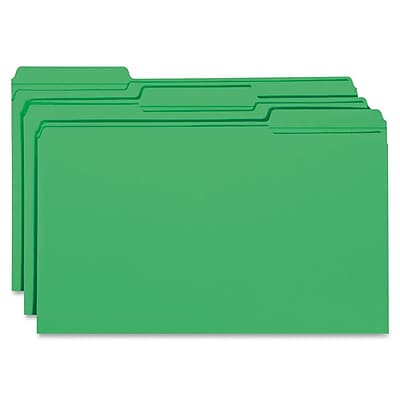 Staples® Colored Top-Tab File Folders, 3 Tab, Green, Legal Size, 100/Pack