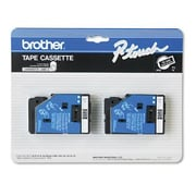 "Brother® TC Series Laminated Label Tape, 3/8"" x 25', White on Black"