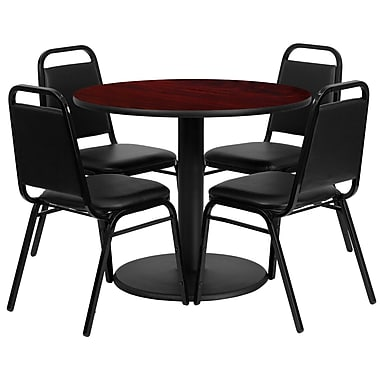 Flash Furniture 36'' Round Mahogany Laminate Table Set with Round Base and 4 Black Trapezoidal Back Banquet Chairs
