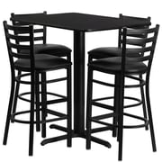 Flash Furniture 42.25'' Modern Pedestal Base Vinyl Bar Stool, Black (RSRB1019)