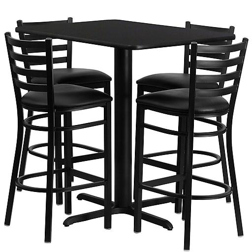 Flash Furniture 24'' x 42'' Rectangular Table Set W/4 Ladder Back Metal Bar Stools (RSRB1019)